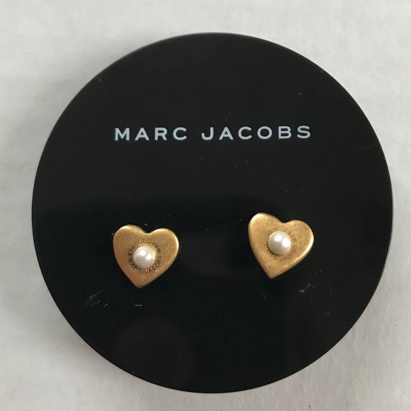 7f2a0d8a5 Marc Jacobs Jewelry | Nwt Gold Pearl Heart Stud Earrings | Poshmark